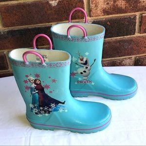 Disney Frozen Light Turquoise Rain Boots Girl 13/1